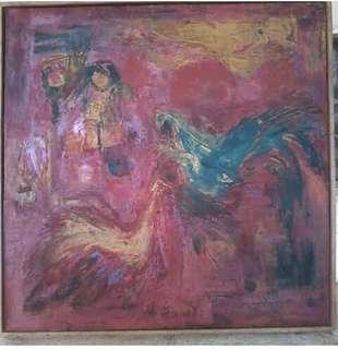 Lukisan asli dengan cat minyak diatas kanvas karya Aceng Arif 1967.
