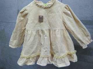 🚚 女童淺黃色絨布洋裝