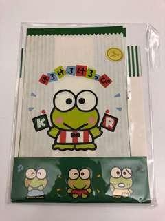Sanrio 1990年 kerokerokeroppi / Keroppi / 青蛙仔 紙袋三個連貼紙