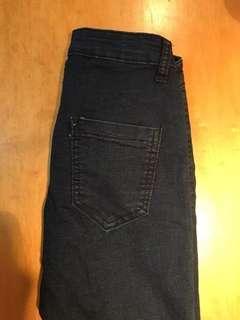 深藍顯瘦小腳褲