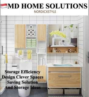 Md Home 3 Pieces Modern Wooden Cabinets Wall Mount Basin Set