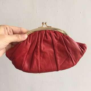 🚚 日本購回 招財小羊皮 正紅包 雙層牛角可頌造型零錢包