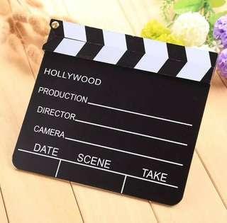 Wooden video clapperboard movie cute classical clapper board