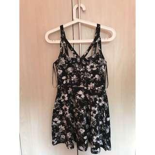 (Forever21) Flowerprint Black Dress