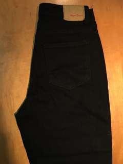 純黑鬚邊褲管哈倫褲