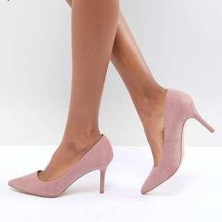 🚚 New Look Suedette Mid Heel Pointed Court 粉紅麂皮中高跟鞋。歐碼43 UK9 大尺碼 跟高8cm,ASOS購入