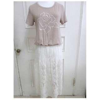 🚚 全新0918 軟棉感玫瑰燕麥膚上衣 拼接摟空長裙蕾絲 長版 洋裝
