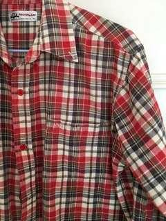 條紋橘線棉襯衫