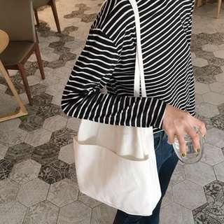 Double Front Pocket Canvas Totebag