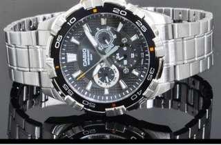 👮👮👮40% Off Brand New Casio Men's Water Resistant Analogy Stainless Steel Watch-6折全新卡西歐男装防水行針鋼裱
