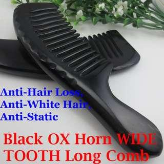 *FREE POST* 100% Natural Black OX Horn WIDE TOOTH LONG Comb