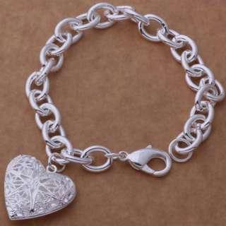 925銀手鏈玲瓏簍空相框愛心鍍純銀手練手鏈