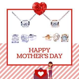 母親節優惠。車花心形鑽石耳環/項鍊