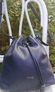Lipault paris blue pebbled leather bucket bag