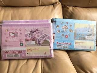 雅芳婷 Hello Kitty 大口仔 1000針嬰兒床笠枕袋
