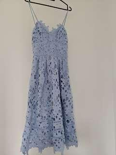 Zalora Blue Eyelet Midi Dress