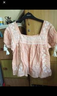 F21 embroidered baby doll top