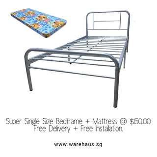 Brand New Super Single Metal BedFrame and Foam Mattress Set