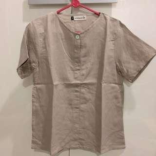 Blouse linen khaki