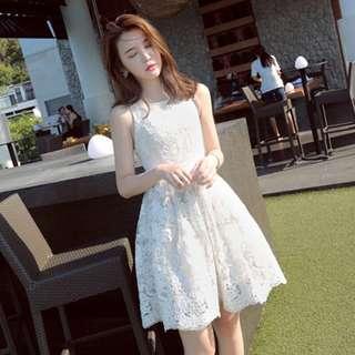 🚚 (全新)白色氣質蕾絲連身裙