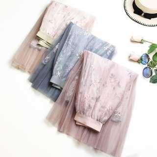 Fashion Flower Embroidery High Waist A-Word Mesh Long Skirt