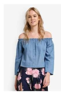 Ruffle edge off shoulder top