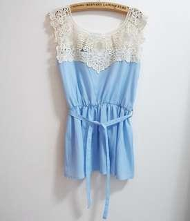 blue lace stitching top