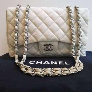 Chanel Jumbo White Jersey with SHW
