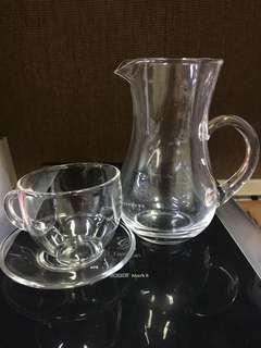 Glasses and jug