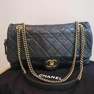 Chanel Easy Flap In Black Calfskin with Rusted GHW