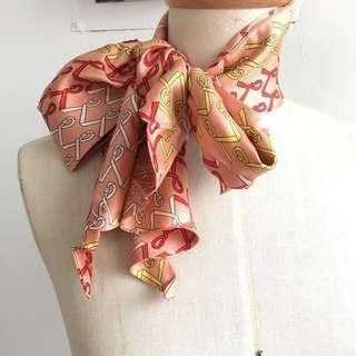 🚚 日本製 純蠶絲 Roberta de camerino長型絲巾領巾 可做髮帶