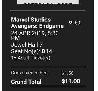 🚚 1 Avengers Endgame Ticket at Shaw Jewel