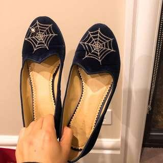Charlotte Olympia spider web flats (size 35)
