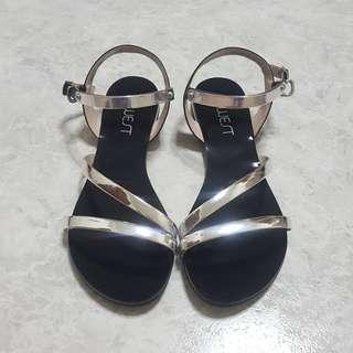 Jwest Silver Chrome Mirror Sandals Size 36 / 5