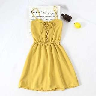 [PO] Crossed Laced Tie With Inner Shorts Camisole Dress