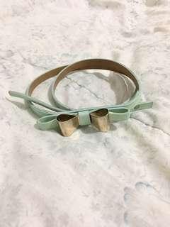 Mint green bow belt