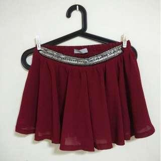 Wine Red Embellished Sequinned Waist Flare Shorts