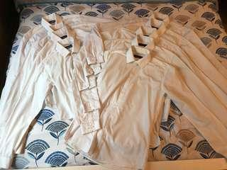 9 x Primark white long sleeve shirts