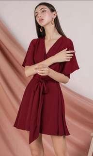 🚚 TTR Izabela Flare Sleeve Dress (Rose)