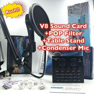 Rush!K Song Pack~V8 sound card, iSing mic,Pop Filter, Stand