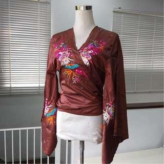 Embroidered Wrap Around Top