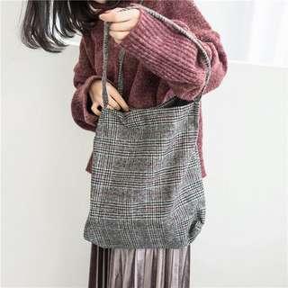 Emi Plaid Wool Tote Bag