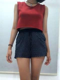 Red crop shirt