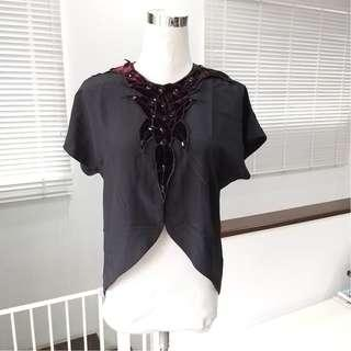 Vintage Asymmetrical Black Top from the 80s