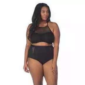 2 Piece Plus Size Black Swim Wear