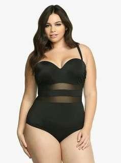 Black 1 Piece Swimsuit Plus Size