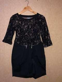 JKNK Black lace mini dress