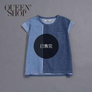 全新!Queen Shop 拼接口袋造型無袖牛仔上衣