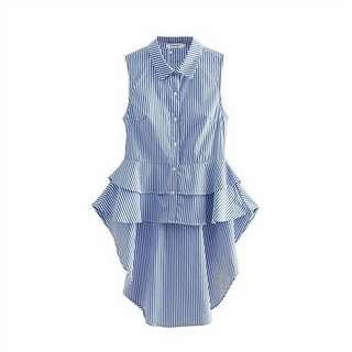 Women stripe tiered tail blouse