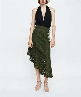 Green lace asymmetric skirt